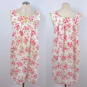 Vintage cotton nightgown house dress floral small